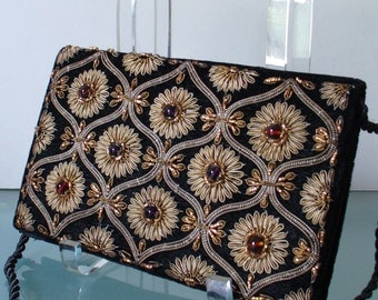 Vintage Zardozi Embroidery Velvet Clutch Bag