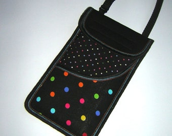 iPhone 6 Plus Case Mini Sling Bag cellphone purse neck bag Crossbody Pouch smartphone wallet mixed fabrics in black colorful polka dots