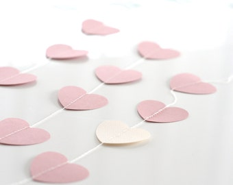 Heart paper garland -bunting / valentines decoration / Stitched Paper Nursery Birthday Children party Decor Photo Prop wedding backdrop