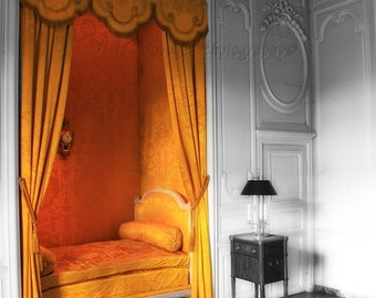 French Bed Photo, Still Life Photography, Orange Yellow Decor, Architecture Decor, Black White With Color, Bedroom Art, Home Interior Photo