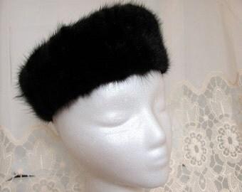 Ladies Mink Pillbox Hat / Brown Mink Pillbox Hat