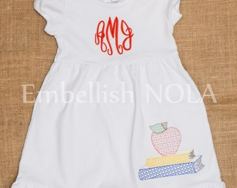 School Days Vintage Book and Applique Monogram Embroidered Ruffle Dress Back to School Outfit