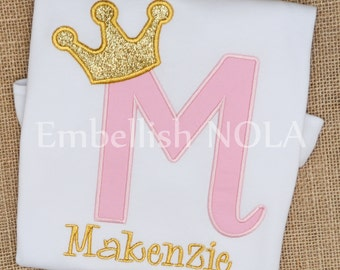 Light Pink and Gold Princess Glitter Crown Letter Appliqued Birthday Shirt