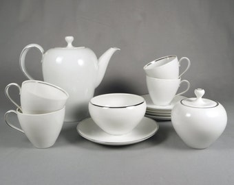 Eva Zeisel Haviland White with Silver Rim Coffee Set