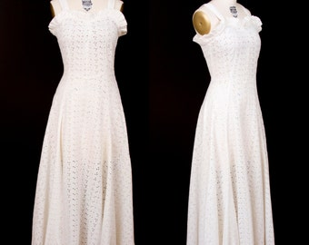 1940s Dress // White Cotton Eyelet Full Length Dress
