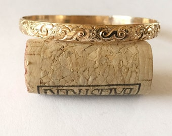 Gold Bangle Bracelet, Abstract, Egyptian Pattern - Custom Sizes and Options