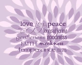 Love Joy Peace ... Fruit of the Spirit | Galatians 5:22 KJV | 8 x 10 Christian Scripture Wall Art Print, Framed, Frameless or Canvas