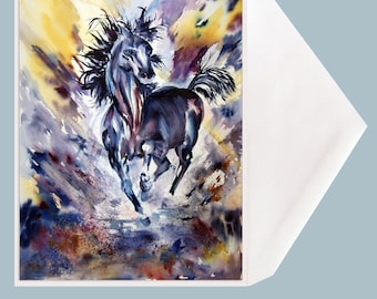 """Horse Art blank Greeting Card by Dotty Reiman  titled """"Runaway"""" - Option to Add Your Personal Message Inside of Card!"""