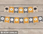 Halloween Chevron Party - Banner - Grey and Orange - INSTANT DOWNLOAD - Printable PDF