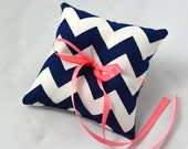 Navy blue chevron wedding ring pillow, YOU CHOOSE the ribbon color, shown in coral