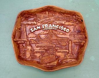 vintage Souvenir San Francisco Faux Wood Resin Relief Tray Plaque 1960s 1970s