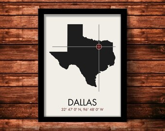 Dallas Map Print   Dallas Map Art   Dallas Print   Dallas Gift   Texas Map   11 x 14 Print
