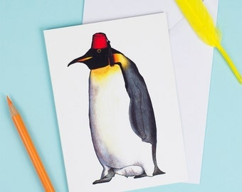 Emperor Penguin in a Fez: A6 Birds in Hats Greetings Card