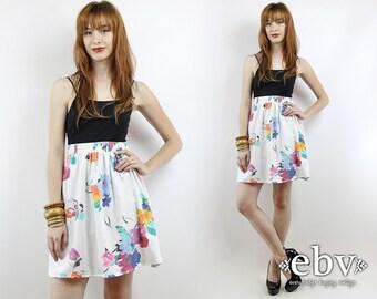 Vintage 90s High Waisted Floral Mini Skirt L XL Floral Skater Skirt High Waisted Skirt High Waist Skirt 90s Skater Skirt White Skirt