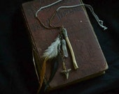 Native Thorn - Clear Quartz, Feathers, Bone, and Tooth Necklace