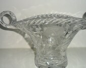 Vintage Cut Glass Double-Handled Fruit Basket