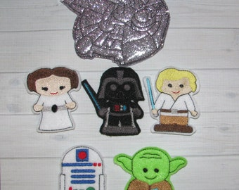 Space Wars finger puppets and case embroidery design digital instant download