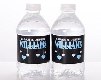 "Retro Wedding Decor - 30 Wedding Water Bottle Labels -  Need a different quantity? Click on the ""choose total"" tab to see all pricing"