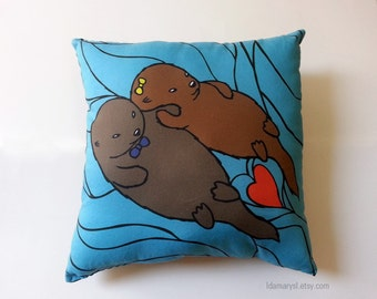 Otter Couple Pillow (Made to Order)