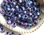 TOHO seed beads, size 6/0, Inside-Color Rainbow Crystal Tanzanite Lined N 181, rocailles, blue glass beads - 10g - S552