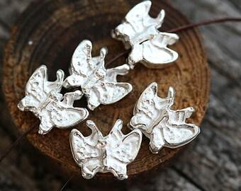 Silver Butterfly charms, Butterflies beads, greek Butterfly beads, metal butterfly, small, Lead Free, earrings  - 6Pc - F288