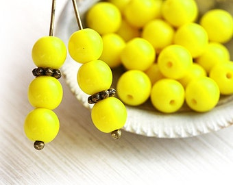 Opaque Yellow round beads, 6mm spacer beads, Czech glass, druk, pressed beads - 6mm - 30Pc - 2115