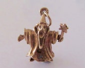 9ct Gold Merlin the Wizard Moving Charm