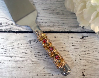 Magical Red Rose & Gold Beaded Cake Server, wedding, bridal gift, special occasion, birthday, couture, belle, beauty and the beast