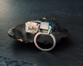 Claw Quartz / Aqua Aura Ring - Sterling Silver