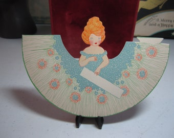 Adorable unused die cut P.F.Volland place card cute girl with fancy hairstyle and off the shoulder blue flowery dress
