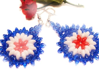 Red, Whtie and Blue Handmade Beaded Earrings with Super Duo Beads