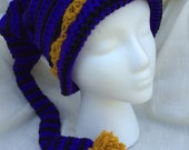 Ravens Elf Hat in Purple and Black with Gold Trim for Christmas