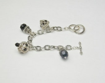 Black Enamel Crystal Beads Vintage Charms Silver Bracelet Costume Jewelry