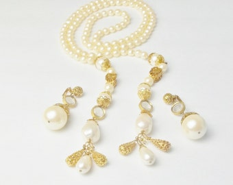 Vintage Faux Pearls Gold Filigree Crystal Lariat Statement Necklace Earrings Costume Jewelry