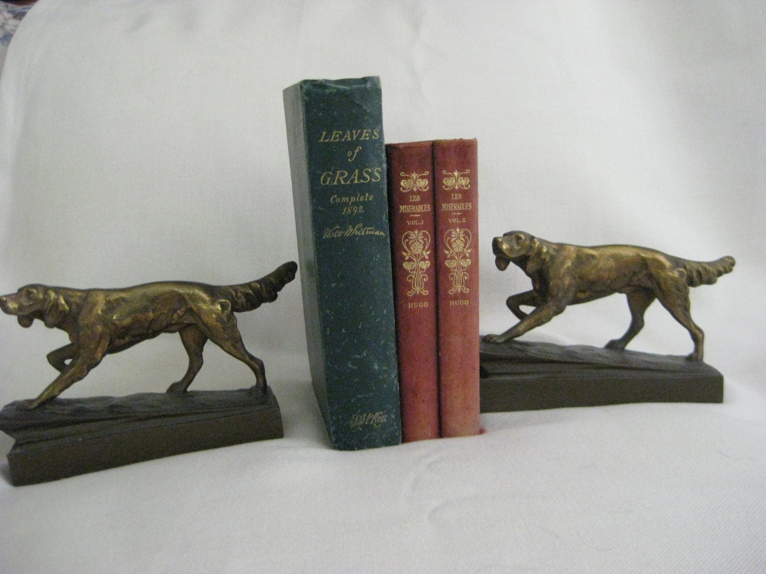 Vintage armor bronze hunting dog bookends - Armor bronze bookends ...
