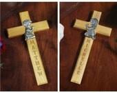 Personalized Engraved Praying Boy or Girl Cross Baptism Christening Communion Gift
