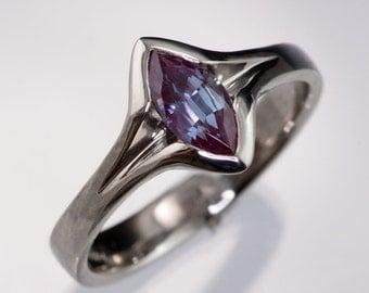 Marquise Chatham Alexandrite Engagement Ring in Palladium or Gold, Unique Bezel Sapphire Ring, Diamond Alternative