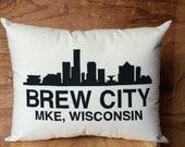 Milwaukee Pillow - Brew City /  Wisconsin, Beer, Milwaukee Skyline