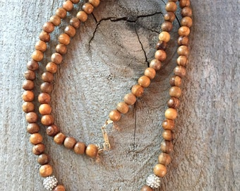 Simple wood and rhinestone necklace