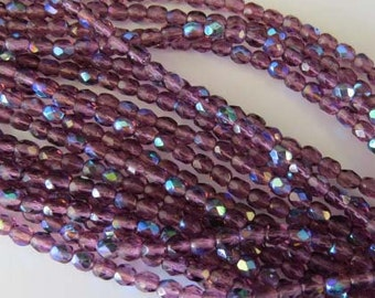 4mm Czech fire Polished 50 Beads Amethyst AB