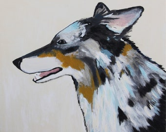 Small original painting, dog, colorful, 12x12,