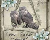 Custom Etsy Shop Banner Set (Pre-made) - Barn Owls