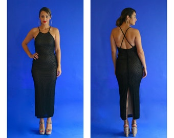 black formal maxi dress/ bodycon black strappy dress  / 1990s/ small - medium