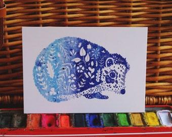 Blue Hedgehog Illustration // Hedgehog Art // Hedgehog Postcard // Woodland Animal Art // Watercolour hedgehog // Botanical Print // Nursery