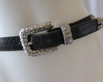 BELT Black Leather Alligator Pattern Silver Buckle Brass detail Lady Nadim