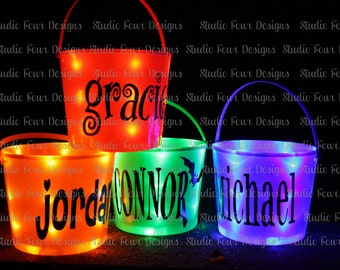 Personalized Light up Halloween Bucket - Many fonts to choose from