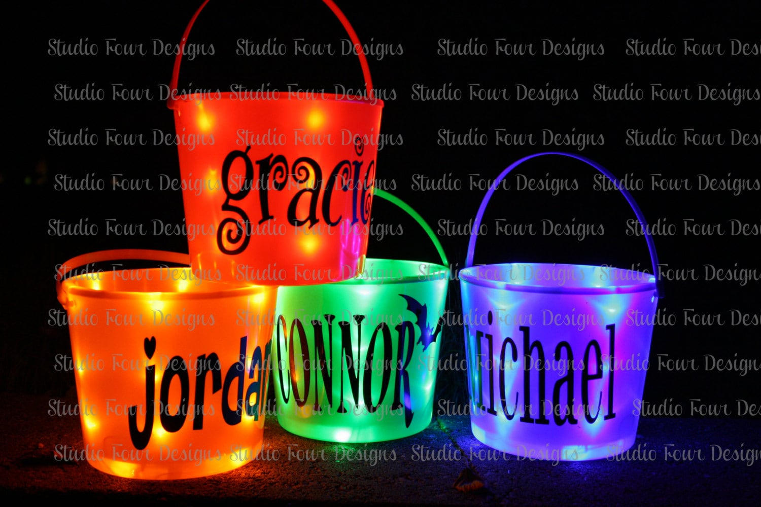 Personalized Light Up Halloween Bucket Many By