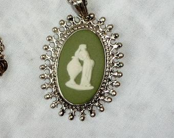 Vintage Green Wedgwood Jasperware Cameo Sterling Silver Pendant Necklace Vintage Jewelry By Vintagelady7