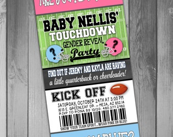 Gender Reveal Party Football Gender Reveal Party Pink Vs Blue Baby Reveal Party Baby Gender Reveal Party Invitation