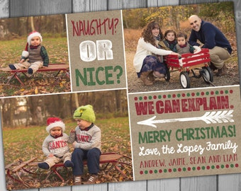 Naughty or Nice Christmas Photo Card Holiday Photo Card Photo Christmas Card Printable Christmas Card Family Christmas Cards